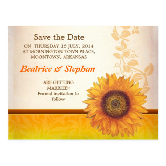 sunflower blossoms custom save the date postcards