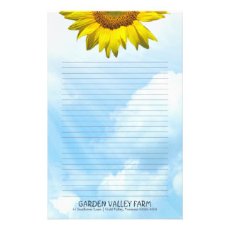 Sunflower Blue Sky Lined Personal Writing Paper Customized Stationery