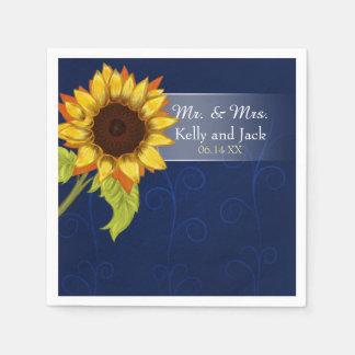 Sunflower/  Blue wedding cocktail napkin Paper Napkins