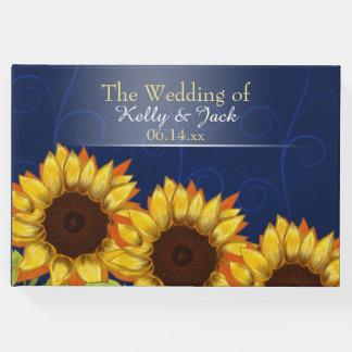 Sunflower/ Blue wedding guest book