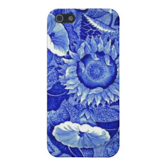 Sunflower Blue White Flower China Pattern Dishes Cover For iPhone 5/5S