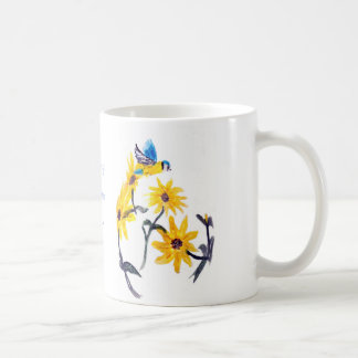 Sunflower Bluetits Floral Art Basic White Mug