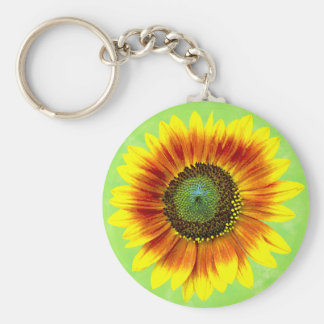 Sunflower Bold Floral Yellow and Green Flower Keychain