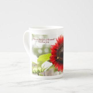 Sunflower Bone China Mug with Scripture