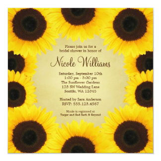Sunflower Border Bridal Shower Card