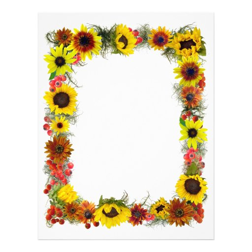 sunflower border custom letterhead zazzle