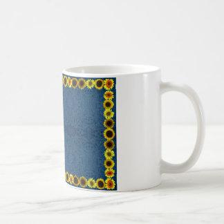 Sunflower Border Frame Blank for Text Coffee Mugs