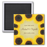 Sunflower Border Save the Date Square Magnet