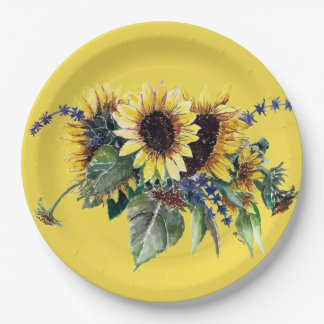Sunflower Bouquet 9 Inch Paper Plate