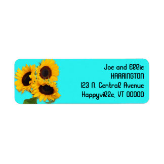 Sunflower Bouquet Bright Aqua Blue Return Address