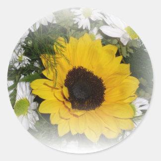 sunflower bouquet classic round sticker