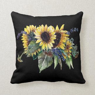 Sunflower Bouquet on Black Throw Pillow