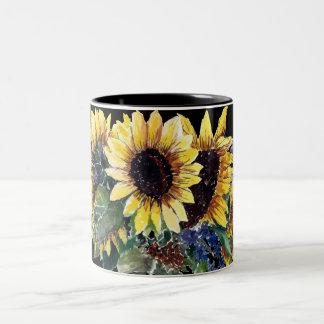 Sunflower Bouquet on Black Two-Tone Coffee Mug