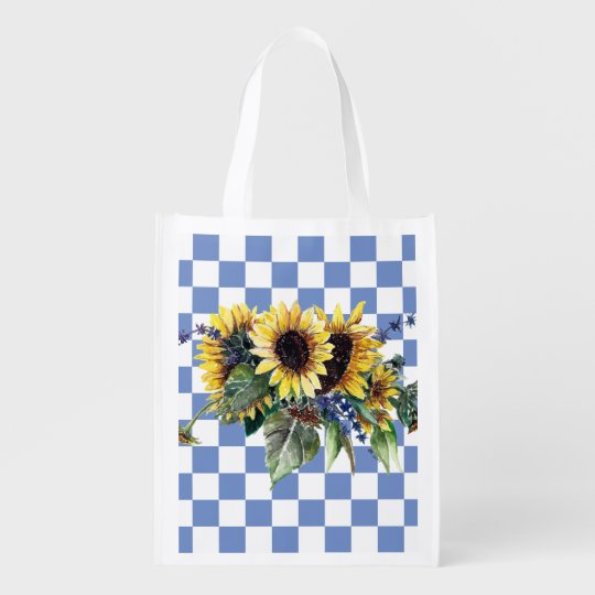 Sunflower Bouquet on Blue Checks Grocery Bag