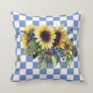 Sunflower Bouquet on Blue Checks Throw Pillow
