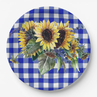 Sunflower Bouquet on Blue Gingham 9 Inch Paper Plate