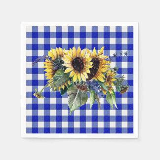 Sunflower Bouquet on Blue Gingham Paper Napkin