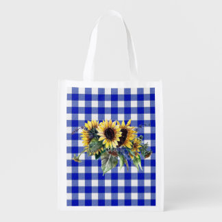 Sunflower Bouquet on Blue Gingham Reusable Grocery Bag