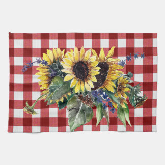 Sunflower Bouquet on Red Gingham Kitchen Towel