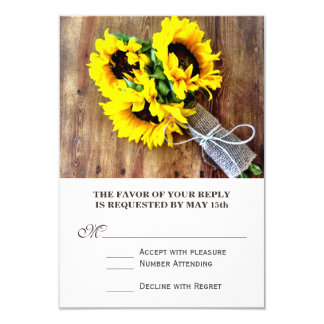 """Sunflower Bouquet Rustic Country Wedding RSVP 3.5"""" X 5"""" Invitation Card"""