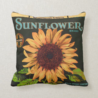Sunflower Brand Orange Fruit Crate Label Throw Pillow