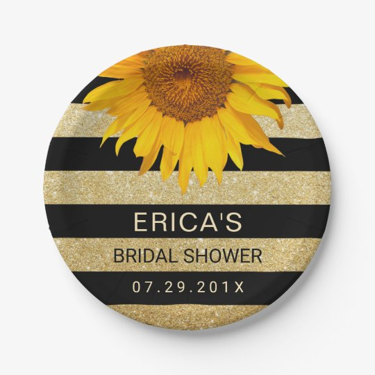 Sunflower Bridal Shower Modern Black & Gold Stripe 7 Inch Paper Plate