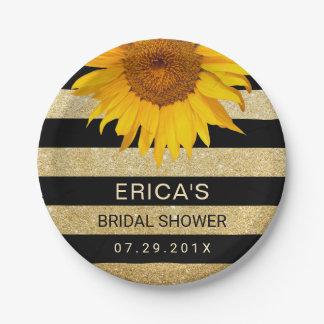 Sunflower Bridal Shower Modern Black & Gold Stripe Paper Plate