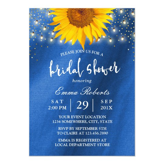 Sunflower Bridal Shower String Lights Navy Blue Card