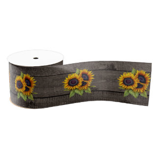 Sunflower Brown Wood Grain Style Ribbon Grosgrain Ribbon