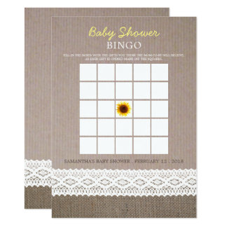 Sunflower Burlap & Crochet Lace Baby Shower Bingo Card