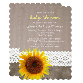 Sunflower Burlap & Crochet Lace Baby Shower Card