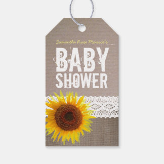 Sunflower Burlap & Crochet Lace Baby Shower Gift Tags