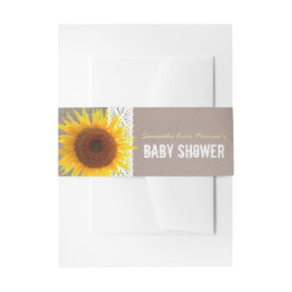 Sunflower Burlap & Crochet Lace Baby Shower Invitation Belly Band