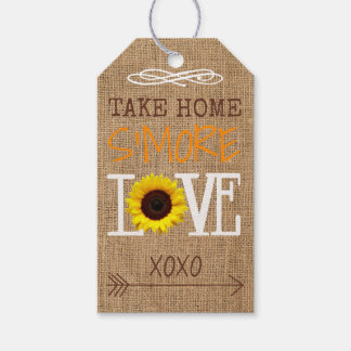 Sunflower Burlap Fall Colors Take Home S'More Love Gift Tags