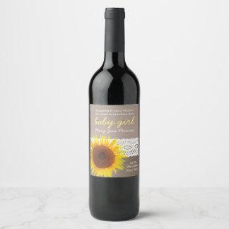 Sunflower Burlap & Lace Baby Girl Announcement Wine Label