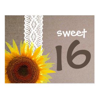 Sunflower Burlap & Lace Sweet 16 Birthday Invite Postcard