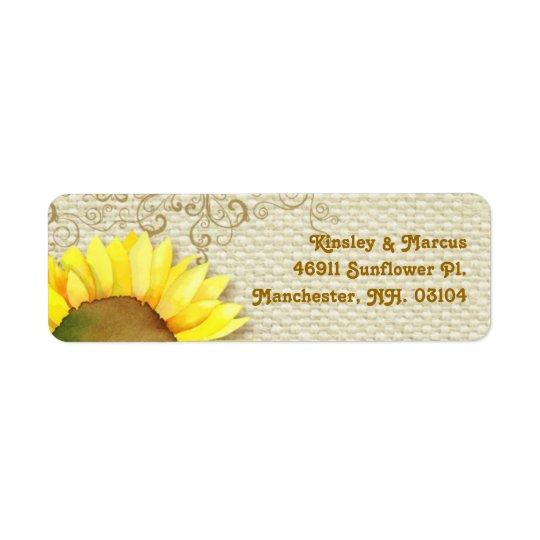 Sunflower + Burlap Print Wedding Address Labels