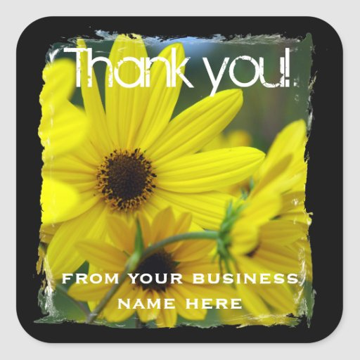 Sunflower Business Thank You Stickers
