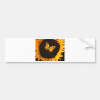 Sunflower Butterfly Car Bumper Sticker