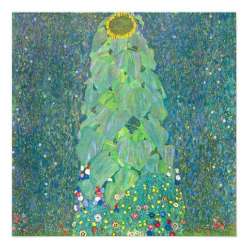 Sunflower by Klimt, Vintage Flowers Art Nouveau Custom Announcement
