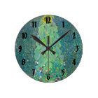 Sunflower by Klimt, Vintage Flowers Art Nouveau Round Clock