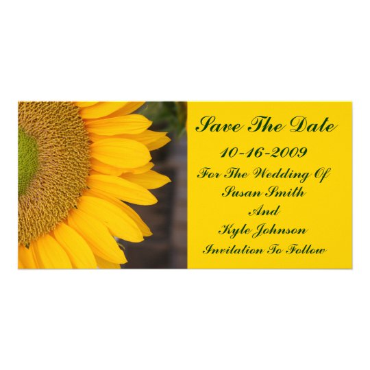Sunflower Centre Floral Wedding Save The Date Card