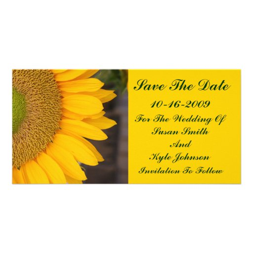 Sunflower Centre Floral Wedding Save The Date Personalized Photo Card