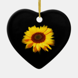 Sunflower Ceramic Heart Ornament