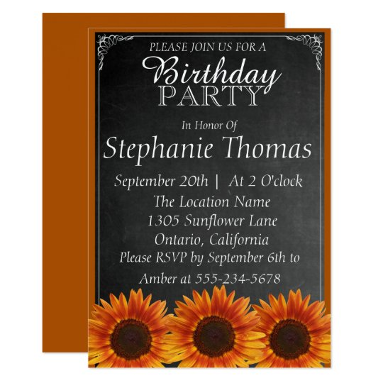 Sunflower Chalkboard Birthday Invitation