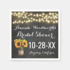 Sunflower Chalkboard Country Rustic Bridal Shower Napkin