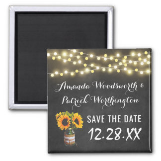 Sunflower Chalkboard Country Rustic Save the Date Square Magnet