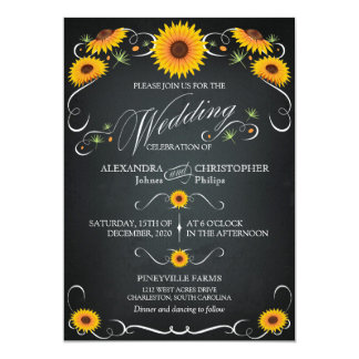 Sunflower Chalkboard Floral Vintage Bold Wedding Card