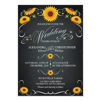 Sunflower Chalkboard Floral Vintage Bold Wedding Invite