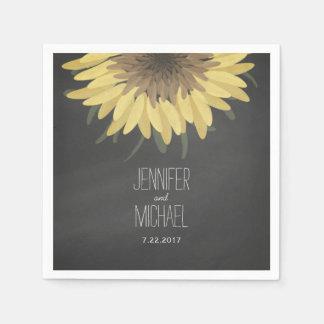 Sunflower Chalkboard Rustic Wedding Paper Napkins